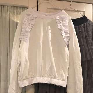 短款米白色荷葉圈棉上衣