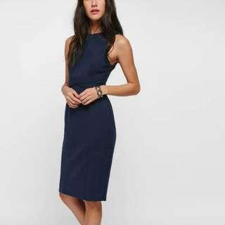 Love Bonito BNIB Dilone Cross Front Midi Dress, Navy, L