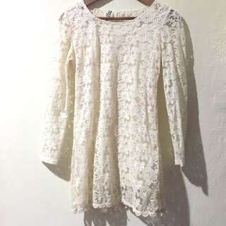 Loose Off White Lace Dress