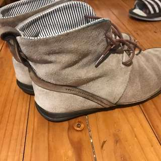 Grey Leather Ankle Comfortable Boots