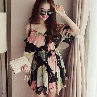 Sexy Floral Short Dress