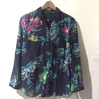 ZARA Floral Button Up Top