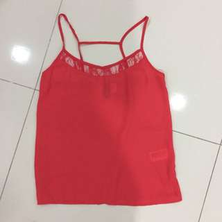 H&M Red Chiffon Top
