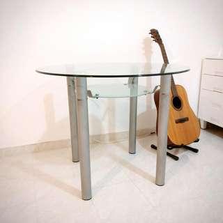 八成新-鋼化玻璃圓形餐檯兩層-大埔自取