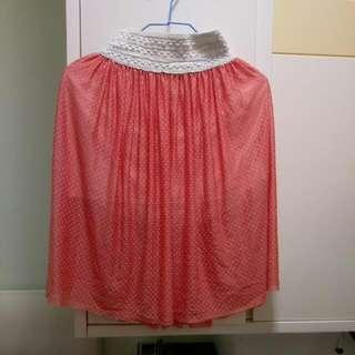 橙紅色半截白點裙