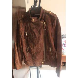 MNG BY MANGO BROWN LEATHER JACKET