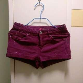 H&M 超短sexy酒紫色短褲