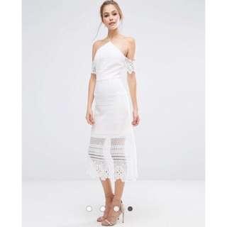Wedding Solemnization/ Pre Wedding Shoot Lace Midi Dress with Bardot Sleeves