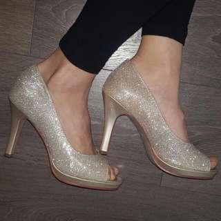 Gold shimmer heels size 7