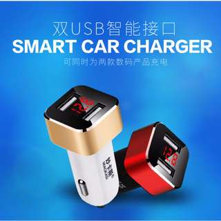 < PROMO > 2 Port USB Car Charger with Display