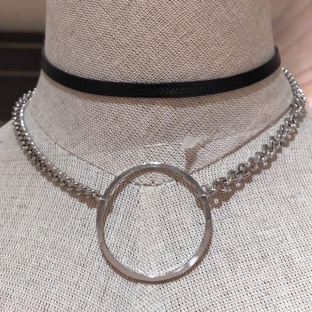 個性金屬大圓圈雙層頸鍊