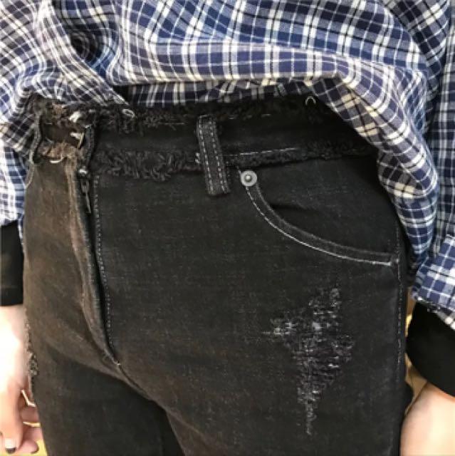 含運!撞色修身顯瘦牛仔九分褲