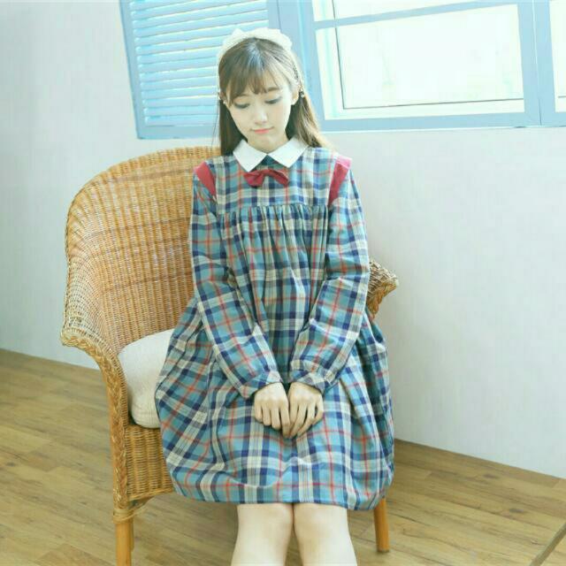 日系軟妹復古格子蝴蝶結洋裝