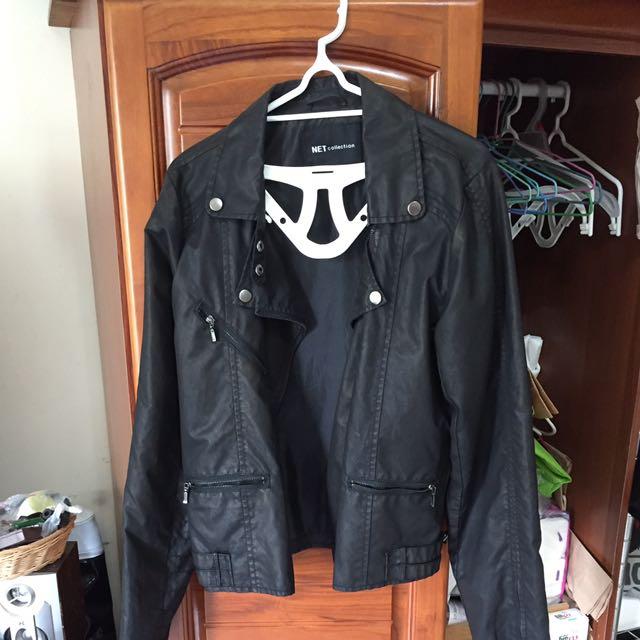 黑色騎士夾克 (防潑水材質)