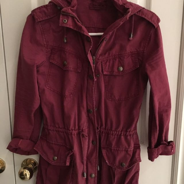 Aritzia Talula Cranberry Trooper Jacket XXXS Fits Like XS