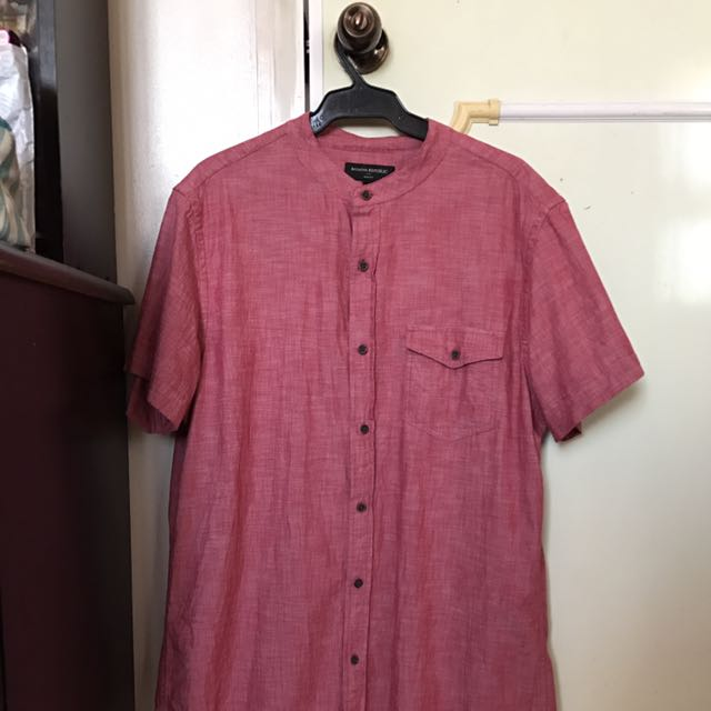 Banana Republic Collar Less Button Up