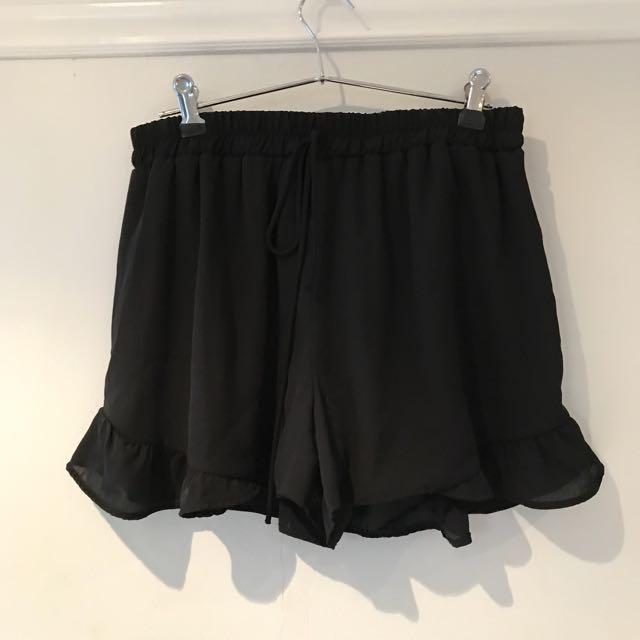 Black Ruffle Shorts