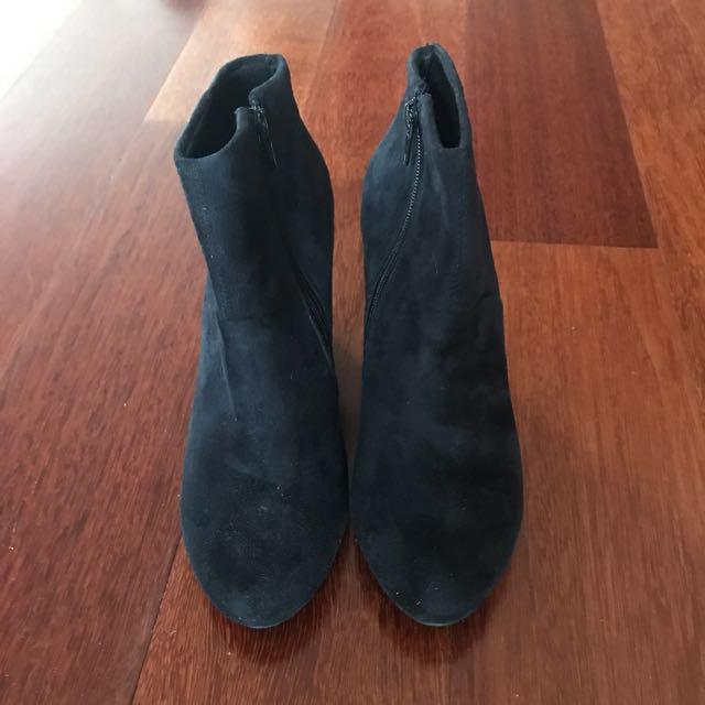 Black Suede Heeled Wedges Size 7