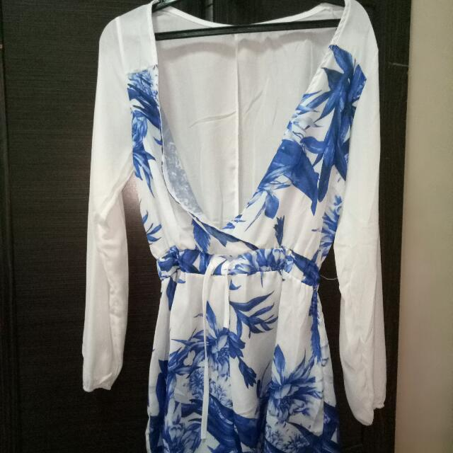 Blue And White - Romper
