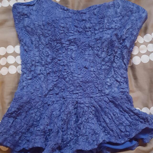 Blue Lace Peplum Top!