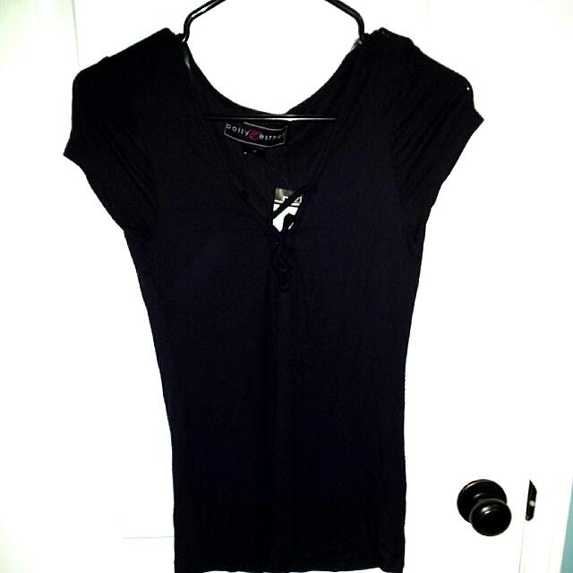 BNWT Black T-shirt With Criss Cross Front