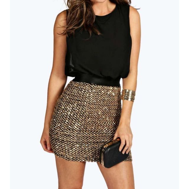 Boutique Kim Chiffon And Sequin 2 In 1 Dress
