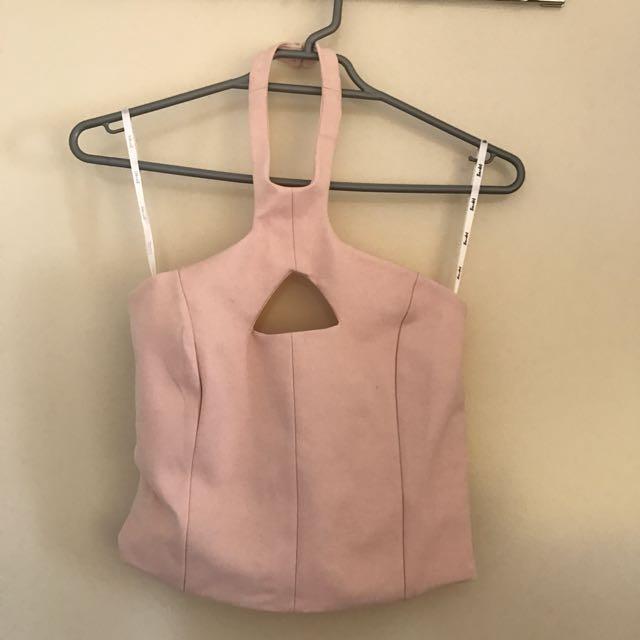 BRAND NEW Bardot Baby Pink Crop Plunge Top