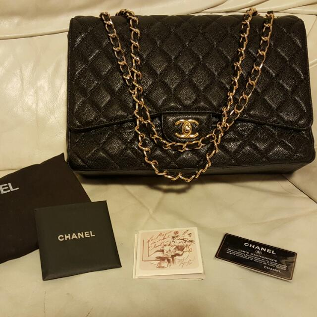 Chanel Maxi Caviar Leather Gold Hardware