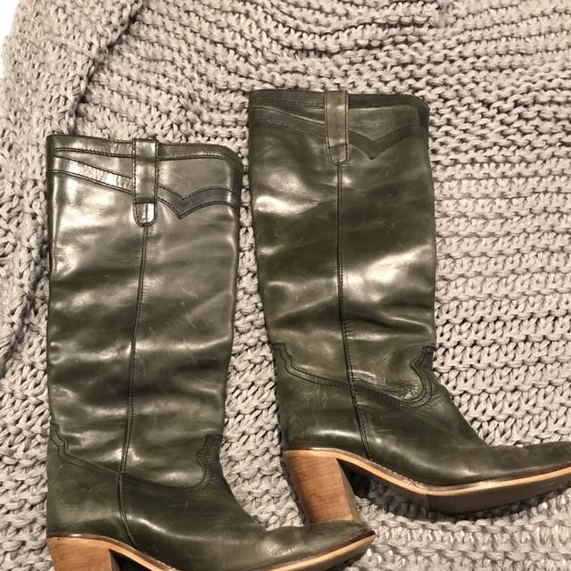 d.co Long Black Stone Wash Boots