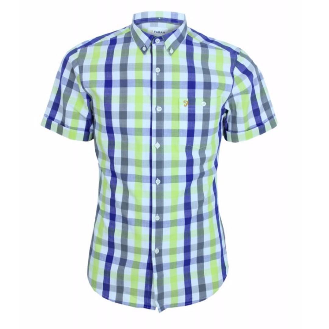 Farah Chiltern Green & Blue Check Shirt - Clematis (UK Brand)