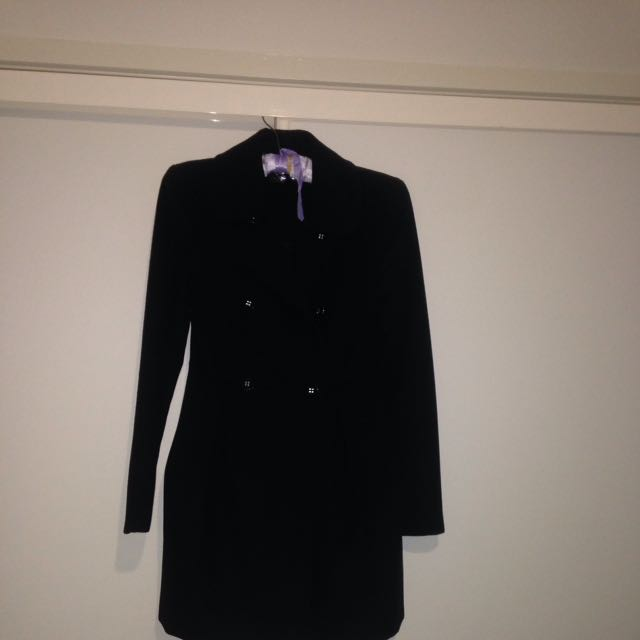 Forever New Thick Black Trench Coat - Size 6