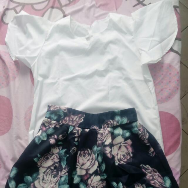 free size white blouse and skirt.