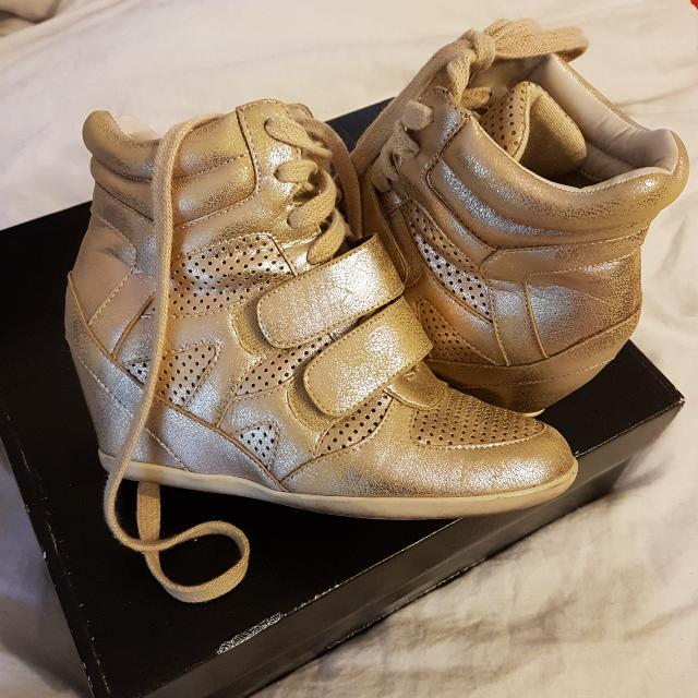 Gold Wedge Sneakers