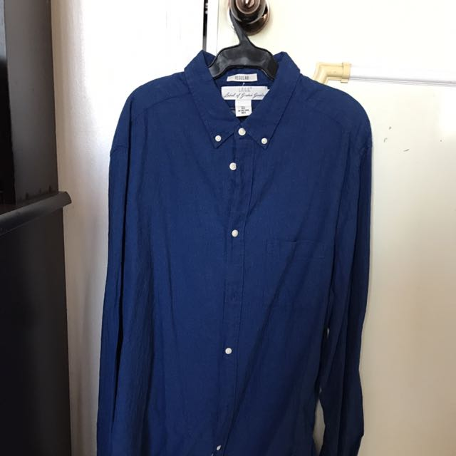 H&M Dark Blue Long Sleeve Button Up