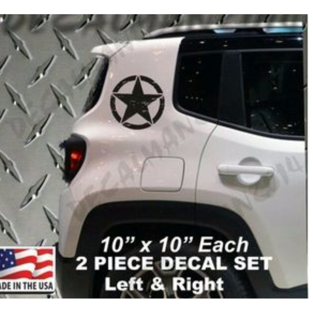 "JEEP RENEGADE 2015 2016 Distressed stars vinyl decals 2 piece set 10"" x 10"" Each"