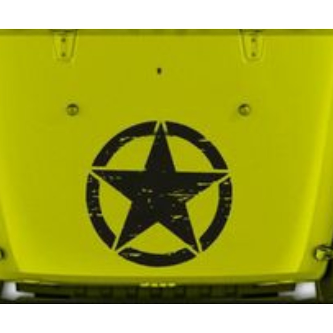 "Jeep Wrangler Oscar Mike Military Distressed Star Vinyl decal 23"" x 23"" TJ LJ JK"