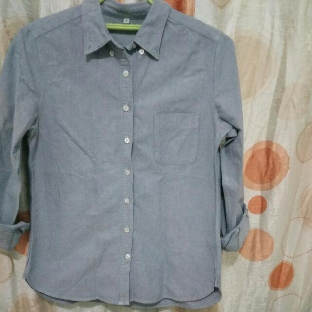 Kemeja Denim Light Blue Merk Muji