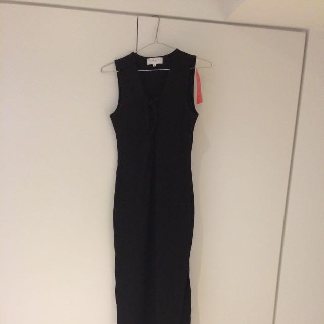 Lace Up Sleeveless Black Maxi Dress 6
