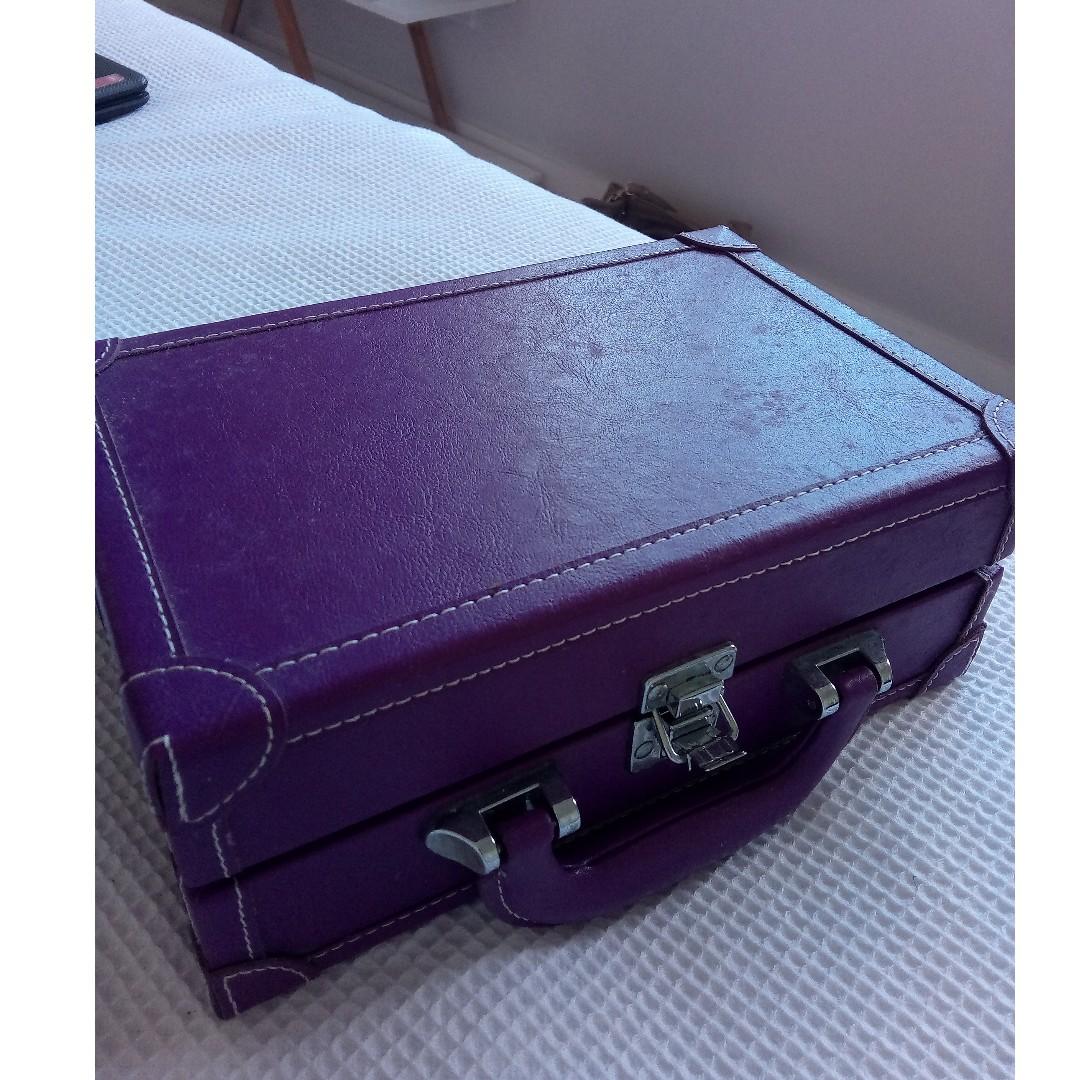 leather look purple makeup case