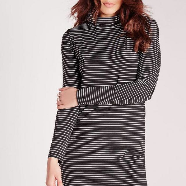 Long Sleeve Roll Neck Stripe Swing Dress