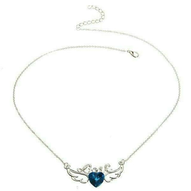 Love Angel Wings Crystal Necklace 925 Sterling Silver