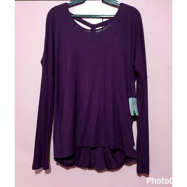 NEW Forever 21 Purple Long Sleeves Backless Top Size Large