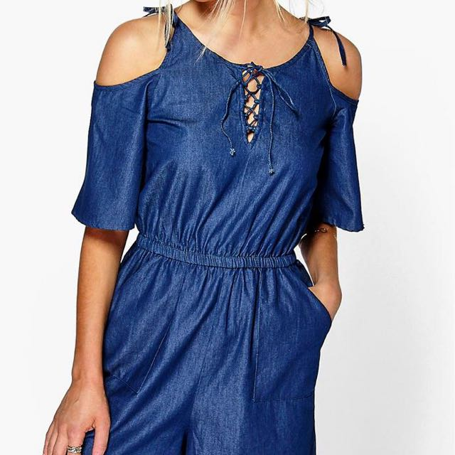 Open Shoulder Denim Playsuit