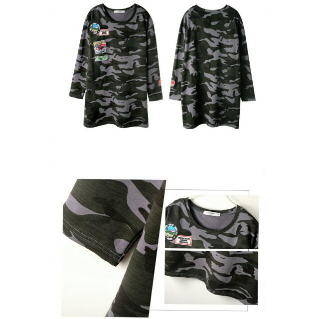 3b7989aac1fd6 OrangeBear Plus Size   Oversize Camo Dress   Long Top