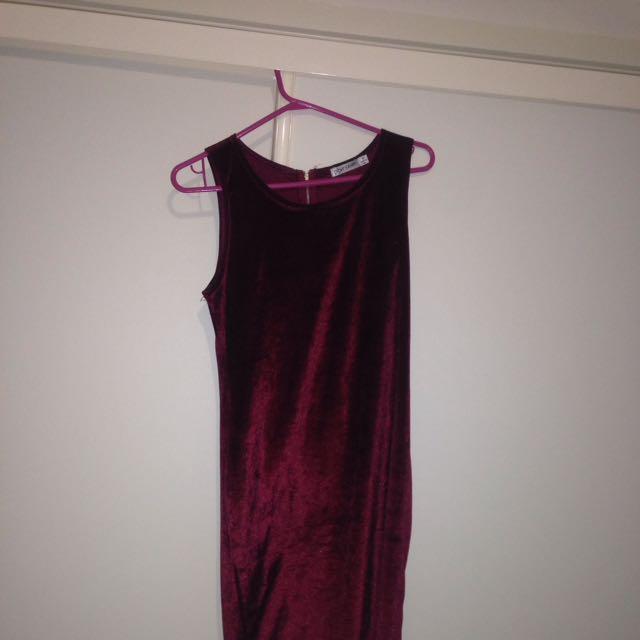 Paper Scissors Red Velvet Bodycon Dress - Size 10