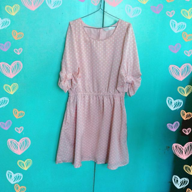 Peach Polka Dots Dress