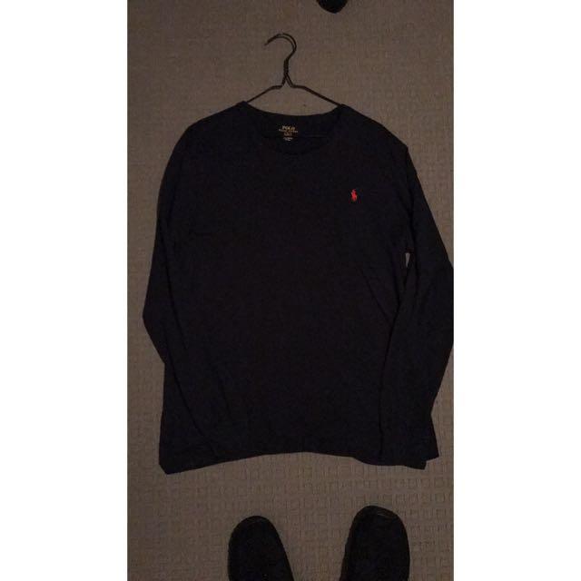 Ralph Lauren Long Sleeve T-Shirt Navy Blue Mens Large