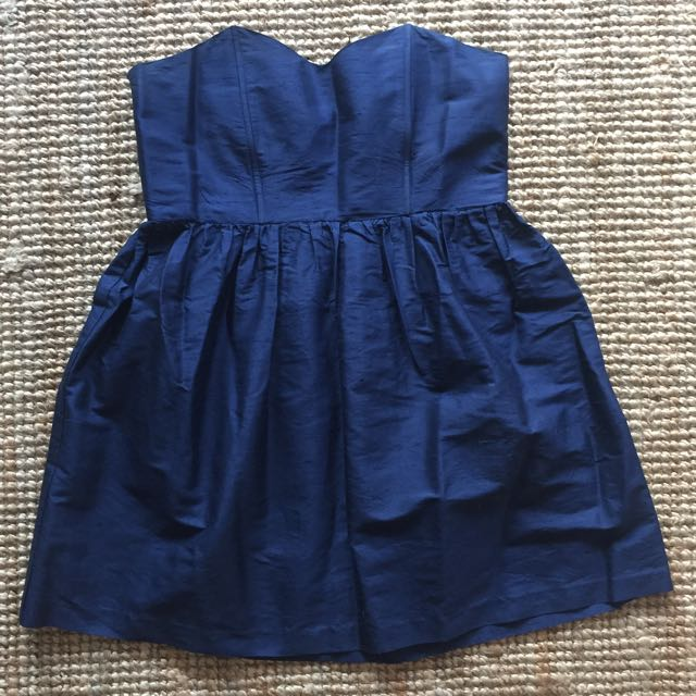 Raw Silk Navy Mini Dress