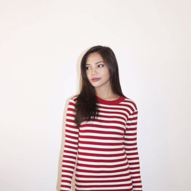 Red And White Strip Dress