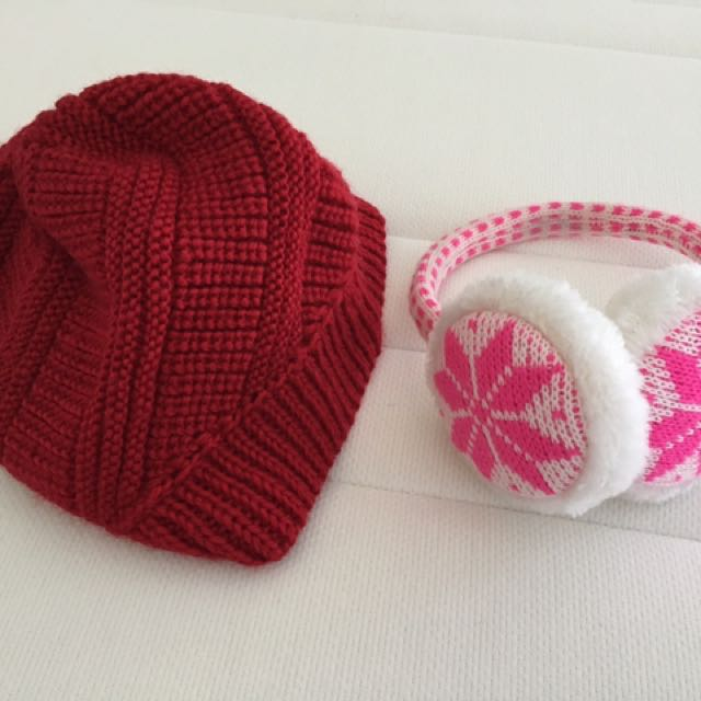 Rib Beanie With Patterned Ear Muffs